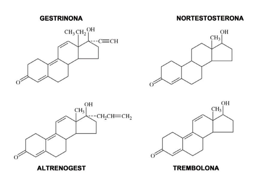 Figura 1. Estructura química de altrenogest y otros derivados análogos.